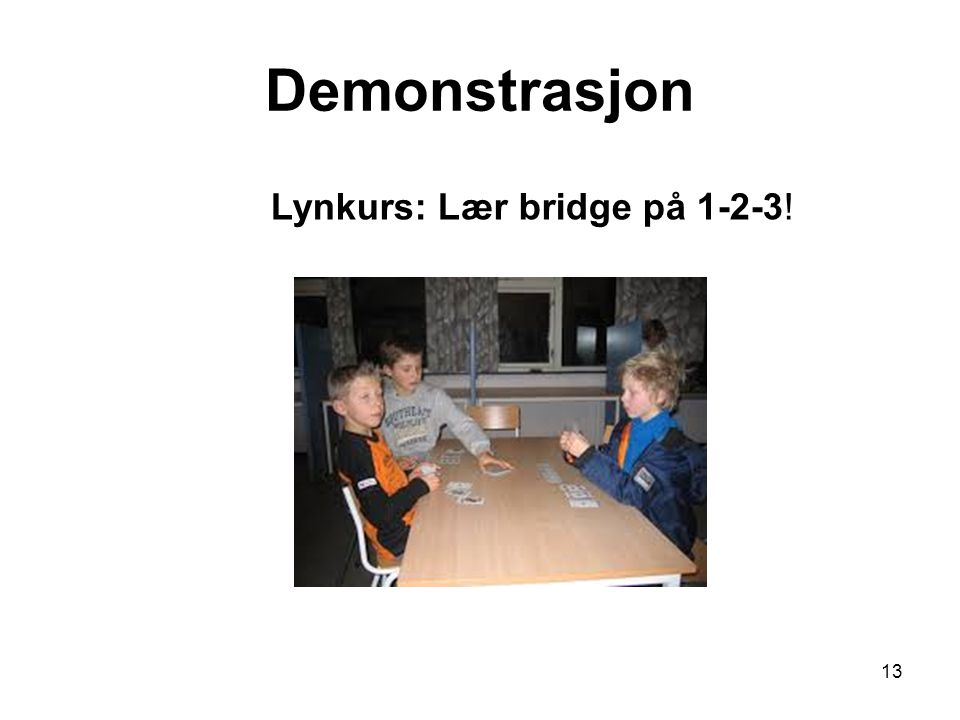 Demonstrasjon Lynkurs: Lær bridge på 1-2-3!