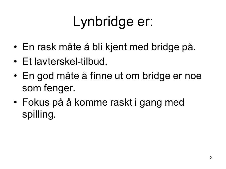 Lynbridge er: En rask måte å bli kjent med bridge på.