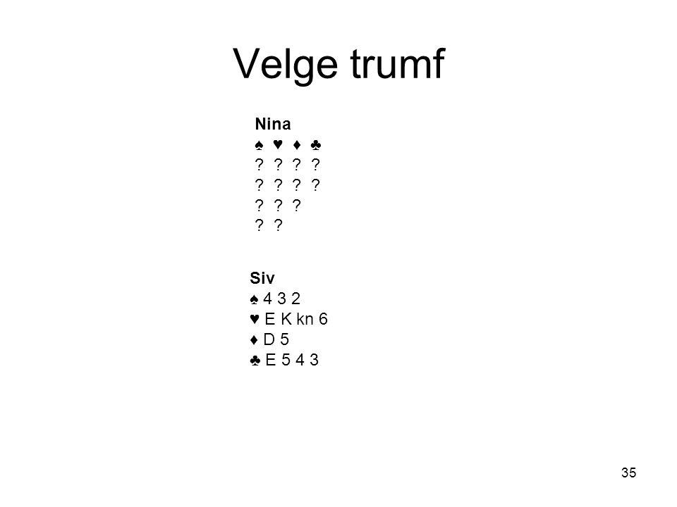 Velge trumf Nina ♠ ♥ ♦ ♣ Siv ♠ 4 3 2 ♥ E K kn 6