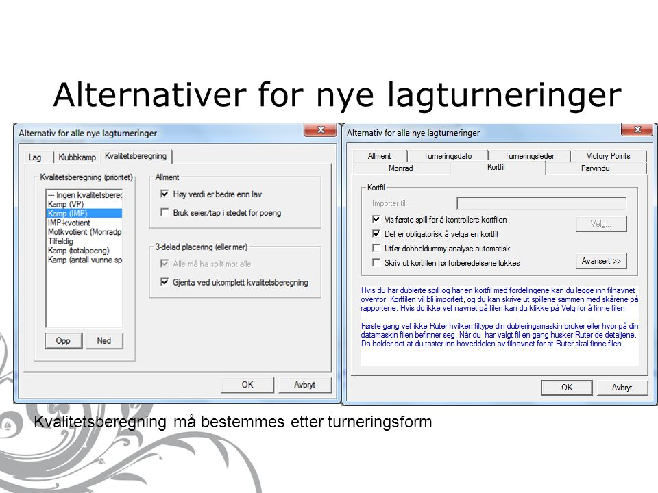 Alternativer for nye lagturneringer