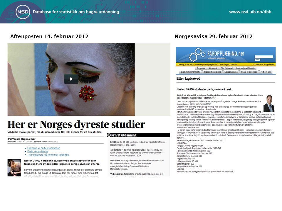Aftenposten 14. februar 2012 Norgesavisa 29. februar 2012