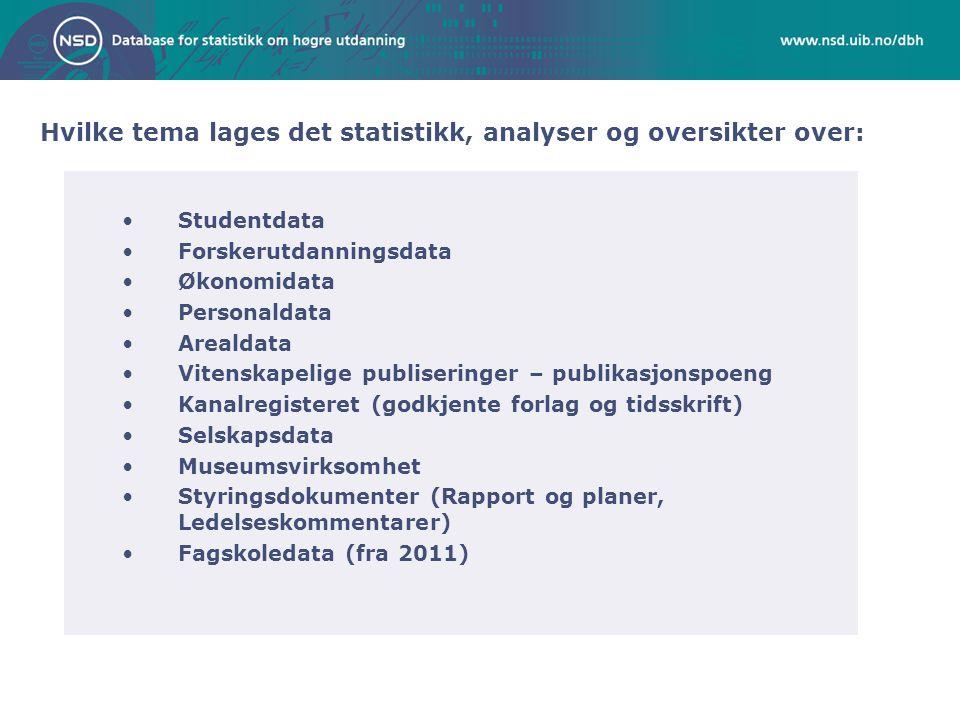 Hvilke tema lages det statistikk, analyser og oversikter over: