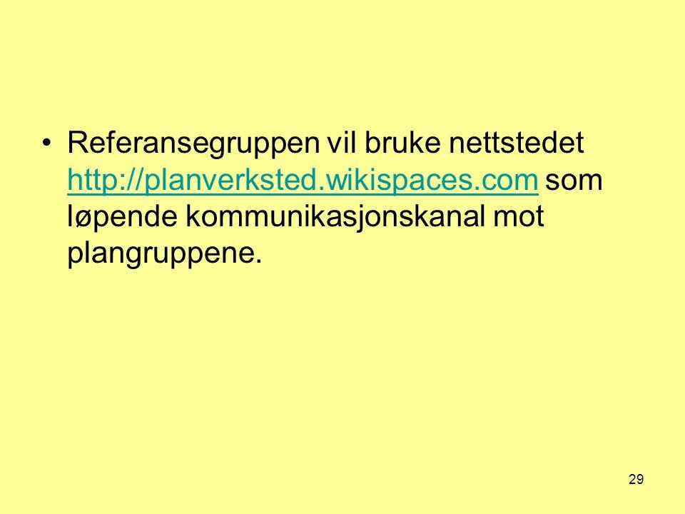 Referansegruppen vil bruke nettstedet http://planverksted. wikispaces