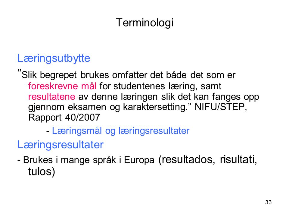 Terminologi Læringsutbytte.