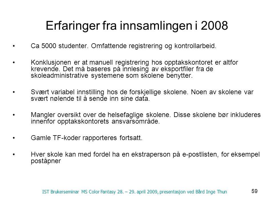Erfaringer fra innsamlingen i 2008