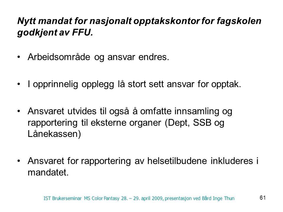 Nytt mandat for nasjonalt opptakskontor for fagskolen godkjent av FFU.