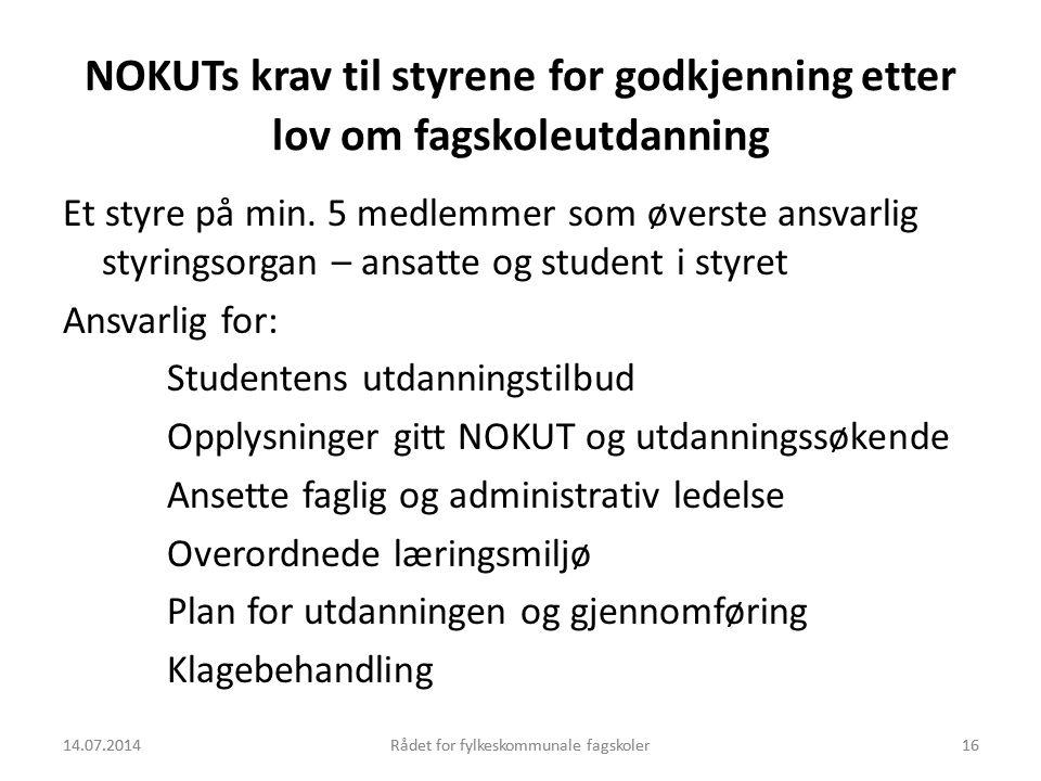 NOKUTs krav til styrene for godkjenning etter lov om fagskoleutdanning