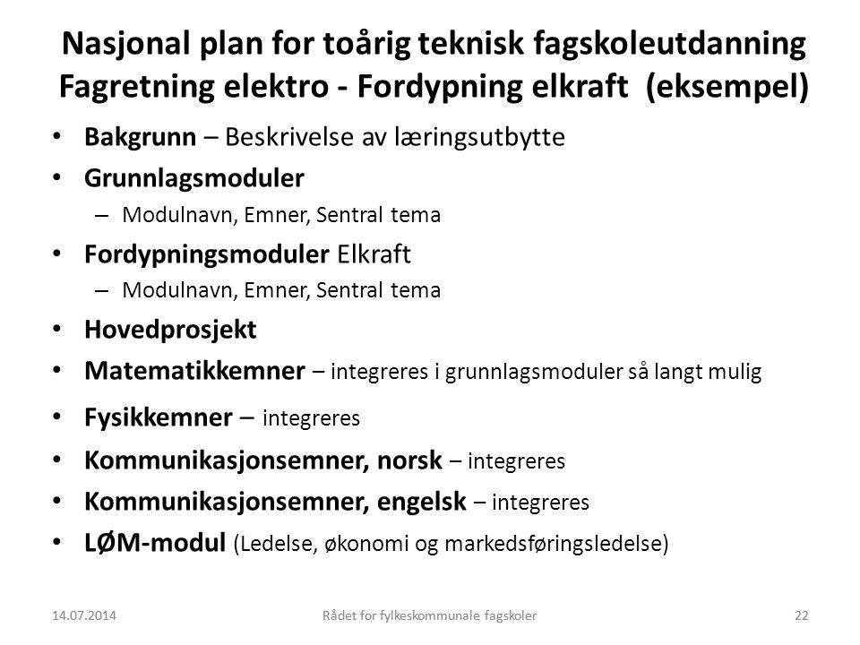 Nasjonal plan for toårig teknisk fagskoleutdanning Fagretning elektro - Fordypning elkraft (eksempel)