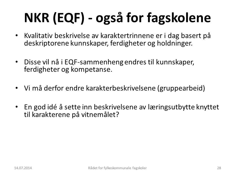 NKR (EQF) - også for fagskolene