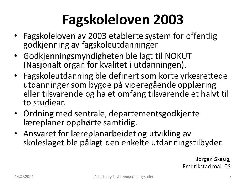 Fagskoleloven 2003 Fagskoleloven av 2003 etablerte system for offentlig godkjenning av fagskoleutdanninger.