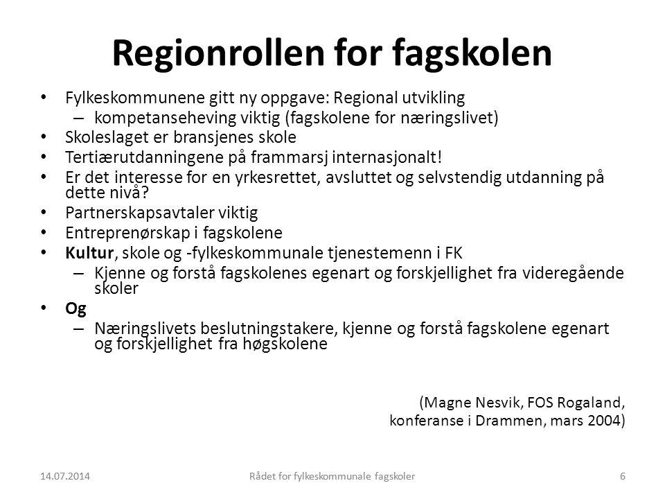 Regionrollen for fagskolen