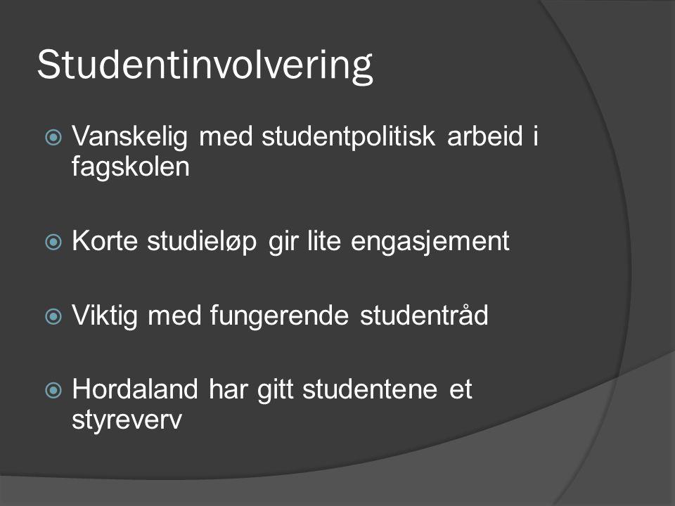Studentinvolvering Vanskelig med studentpolitisk arbeid i fagskolen