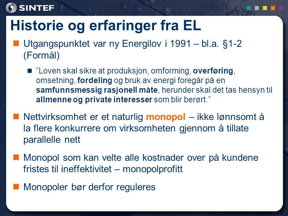 Historie og erfaringer fra EL