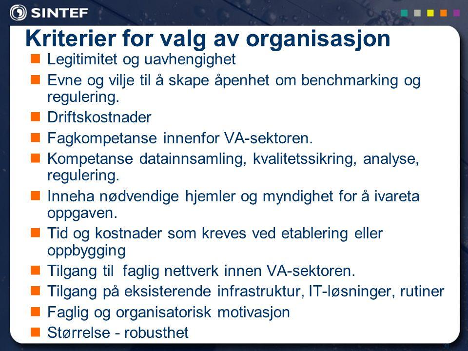 Kriterier for valg av organisasjon