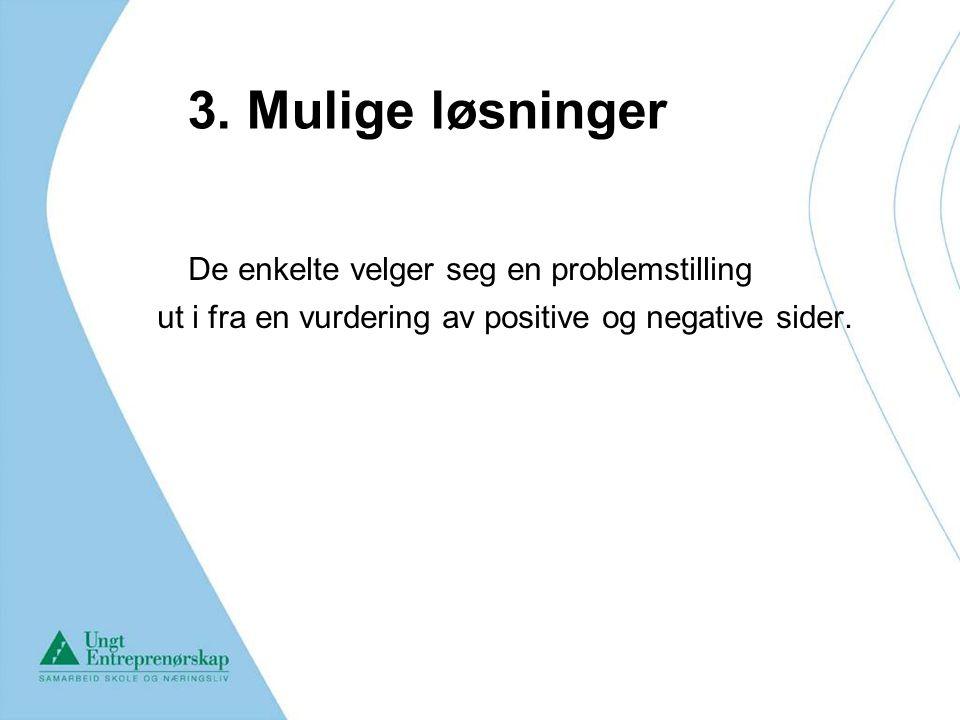 3. Mulige løsninger De enkelte velger seg en problemstilling
