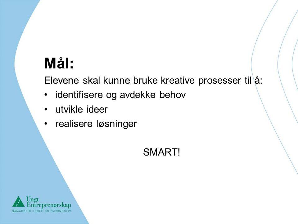 Mål: Elevene skal kunne bruke kreative prosesser til å: