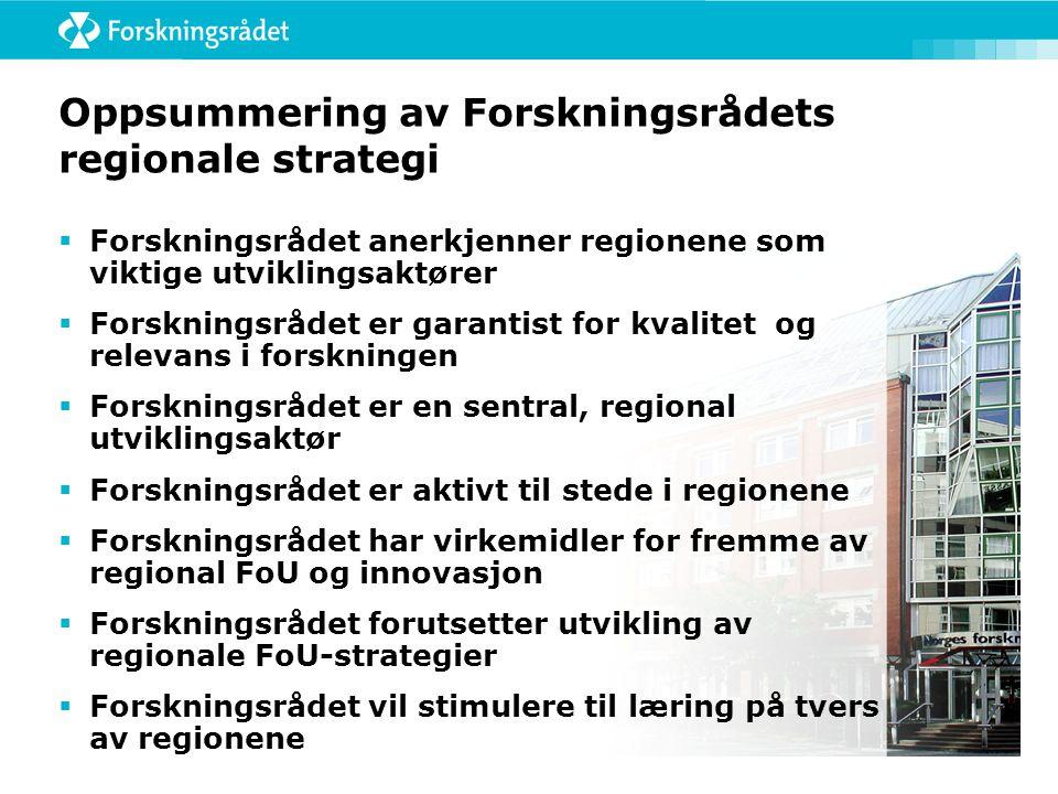 Oppsummering av Forskningsrådets regionale strategi