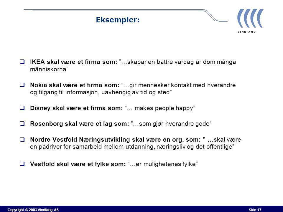 Eksempler: IKEA skal være et firma som: …skapar en bättre vardag år dom många människorna