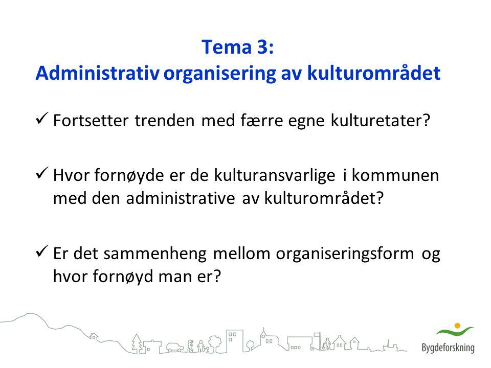 Tema 3: Administrativ organisering av kulturområdet