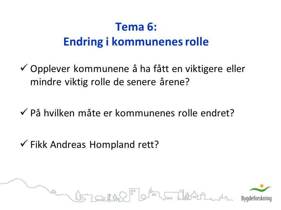 Tema 6: Endring i kommunenes rolle
