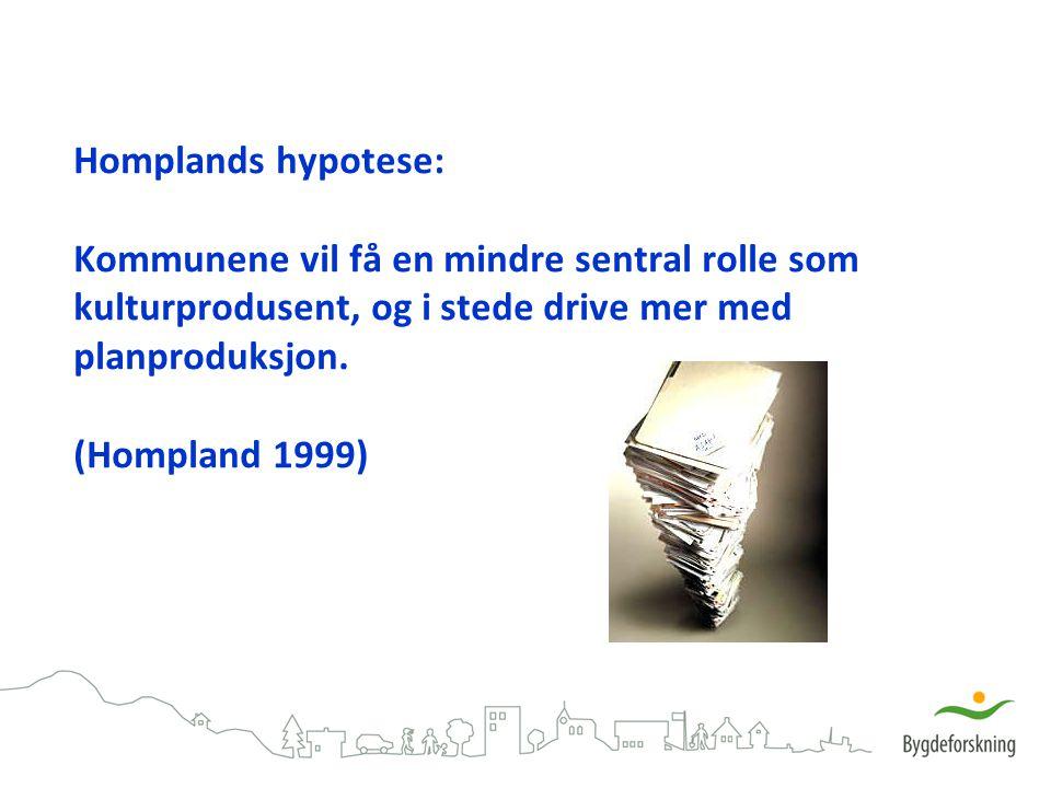 Homplands hypotese: Kommunene vil få en mindre sentral rolle som kulturprodusent, og i stede drive mer med planproduksjon.