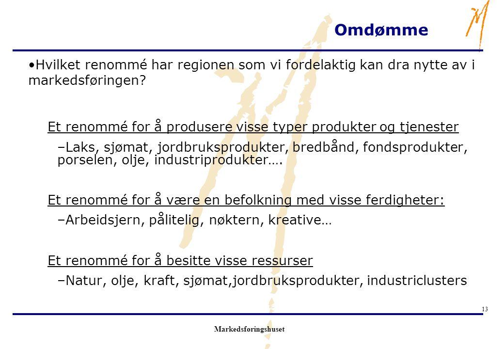 Omdømme Hvilket renommé har regionen som vi fordelaktig kan dra nytte av i markedsføringen