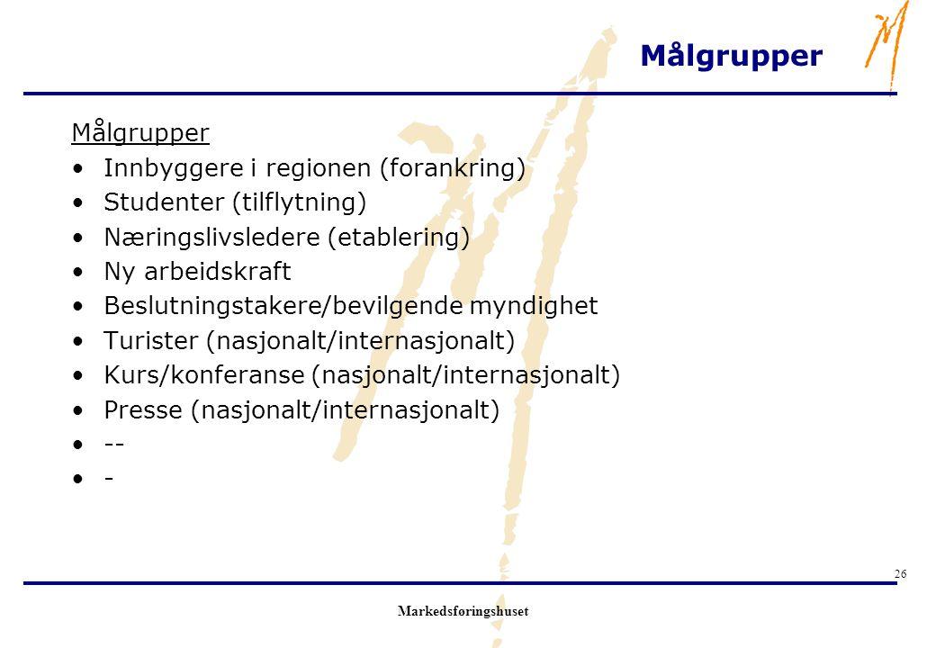 Målgrupper Målgrupper Innbyggere i regionen (forankring)