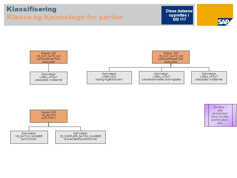 Klassifisering Klasse og kjennetegn for partier