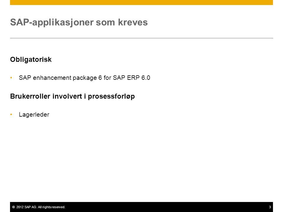 SAP-applikasjoner som kreves