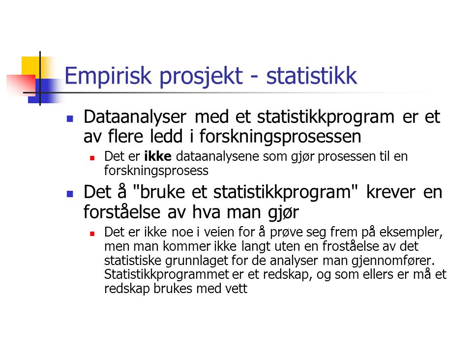 Empirisk prosjekt - statistikk