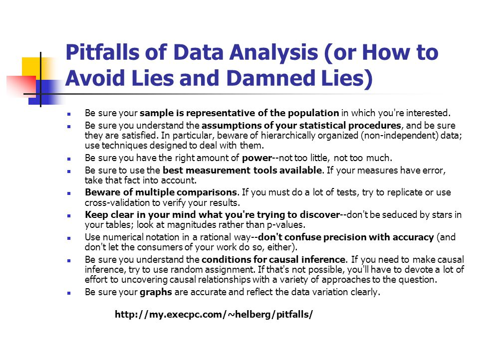 Pitfalls of Data Analysis (or How to Avoid Lies and Damned Lies)