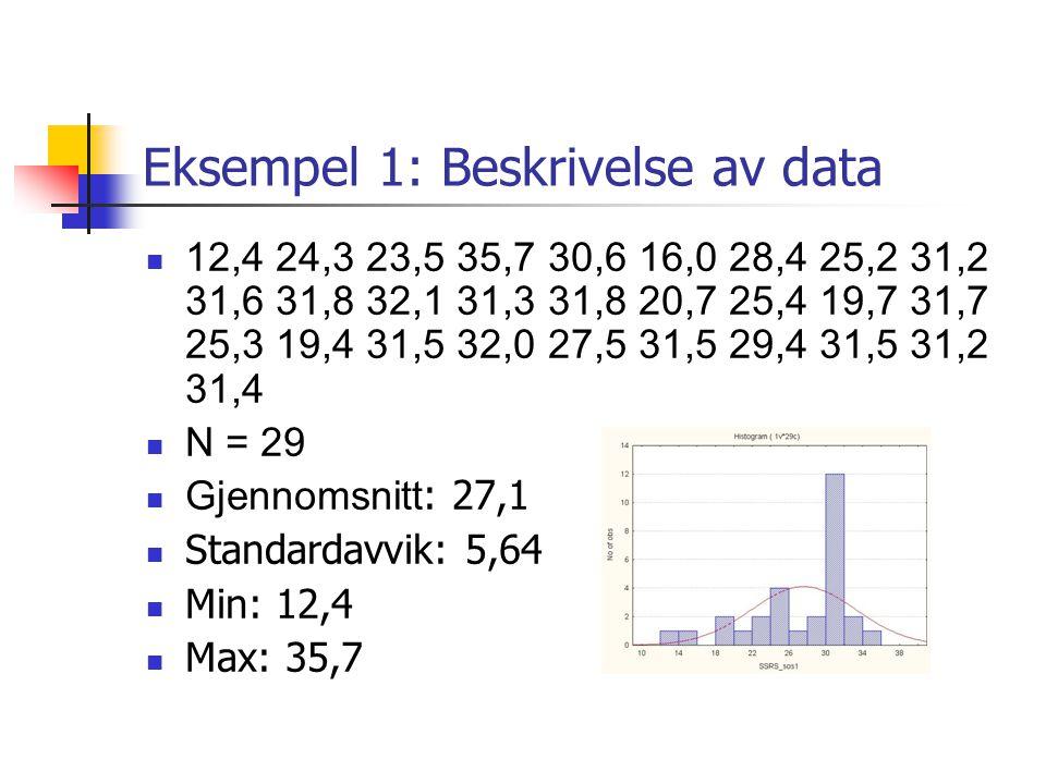Eksempel 1: Beskrivelse av data