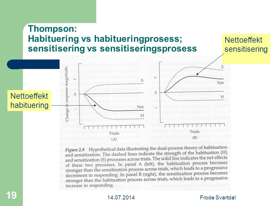 Thompson: Habituering vs habitueringprosess; sensitisering vs sensitiseringsprosess