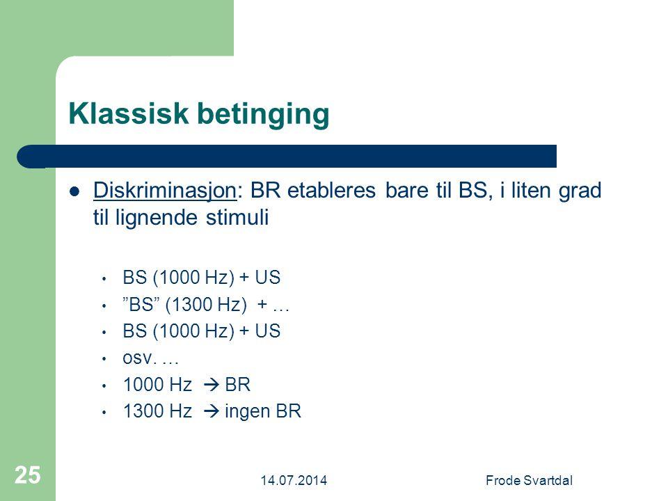 Klassisk betinging Diskriminasjon: BR etableres bare til BS, i liten grad til lignende stimuli. BS (1000 Hz) + US.