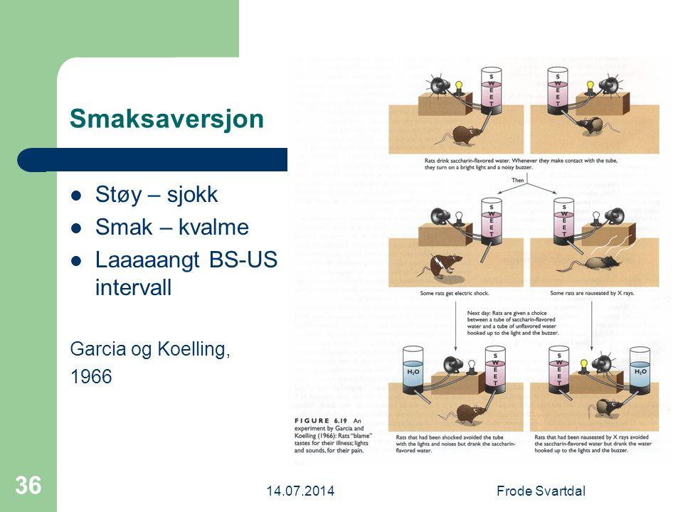 Smaksaversjon Støy – sjokk Smak – kvalme Laaaaangt BS-US intervall