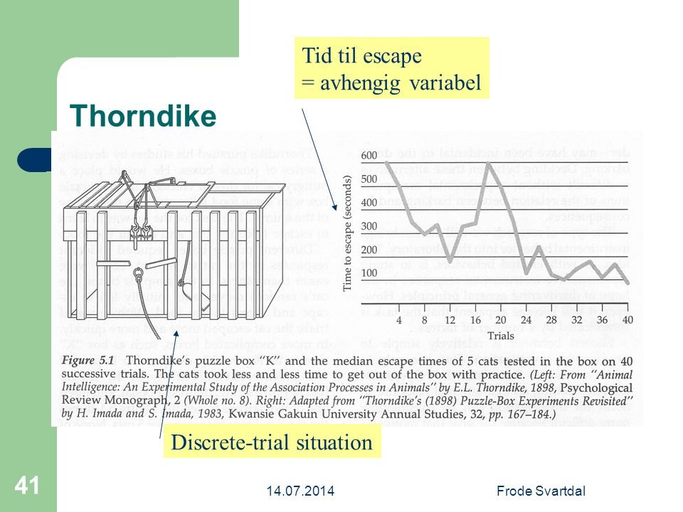 Thorndike Tid til escape = avhengig variabel Discrete-trial situation
