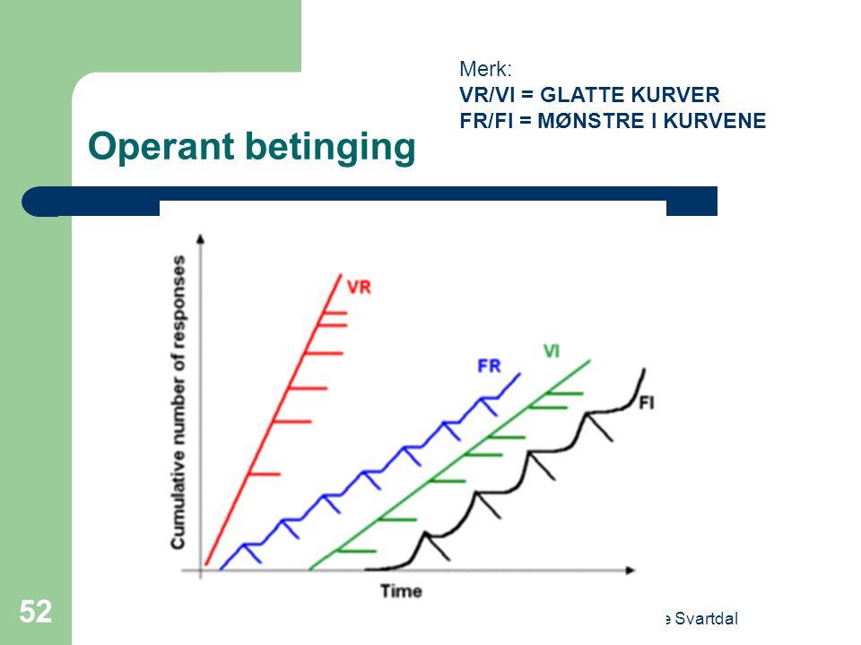 Operant betinging Merk: VR/VI = GLATTE KURVER