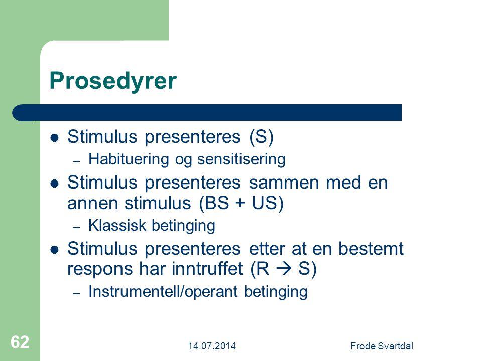 Prosedyrer Stimulus presenteres (S)