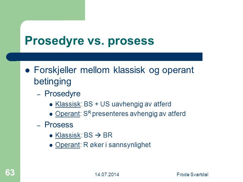 Prosedyre vs. prosess Forskjeller mellom klassisk og operant betinging