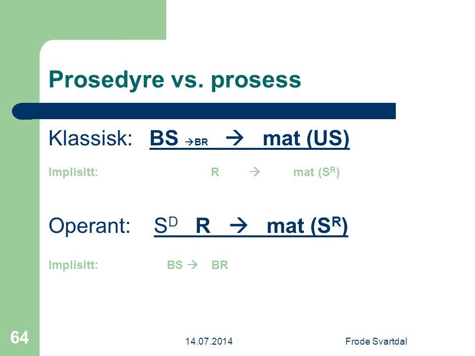 Prosedyre vs. prosess Klassisk: BS BR  mat (US)
