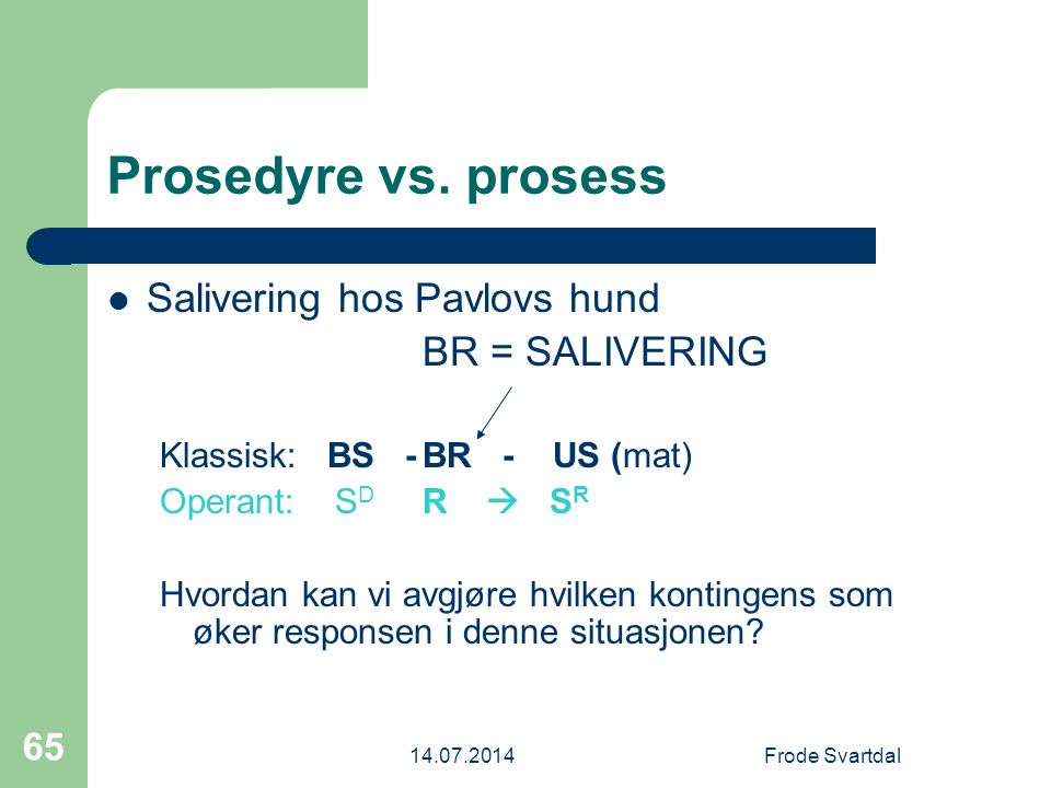 Prosedyre vs. prosess Salivering hos Pavlovs hund BR = SALIVERING