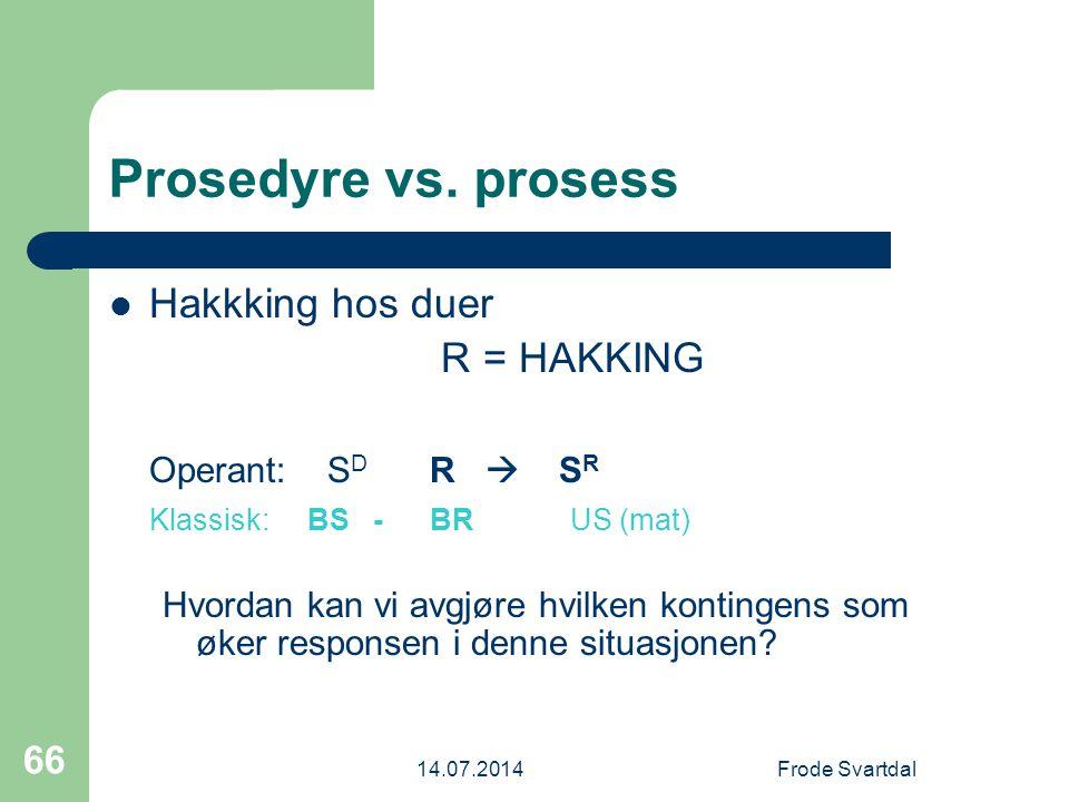 Prosedyre vs. prosess Hakkking hos duer R = HAKKING Operant: SD R  SR