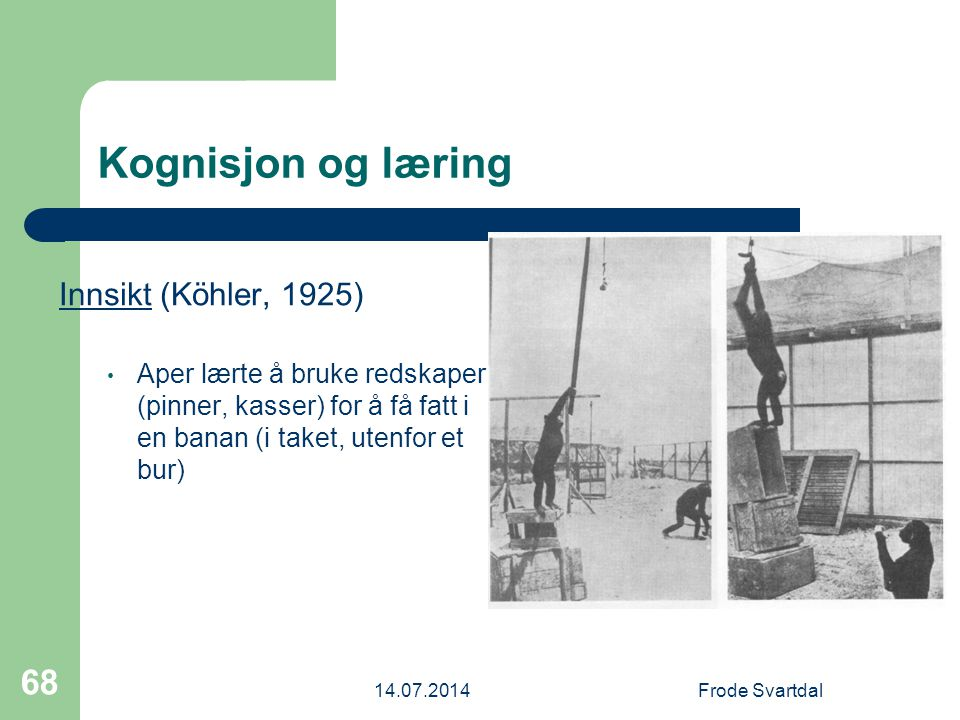 Kognisjon og læring Innsikt (Köhler, 1925)