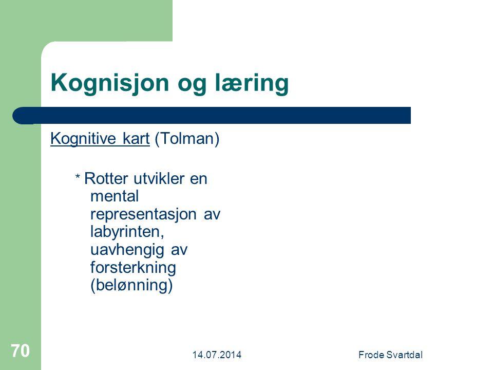 Kognisjon og læring Kognitive kart (Tolman)