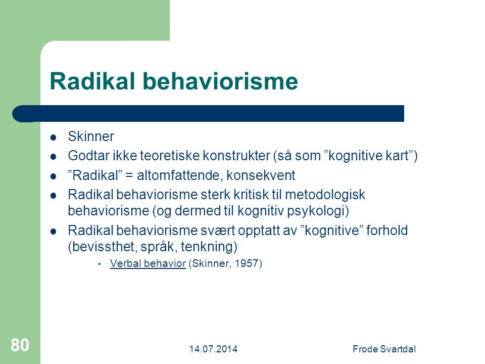 Radikal behaviorisme Skinner