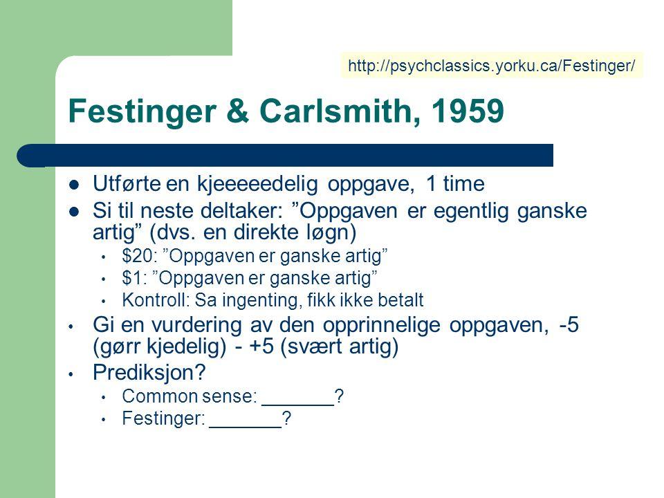 Festinger & Carlsmith, 1959 Utførte en kjeeeeedelig oppgave, 1 time
