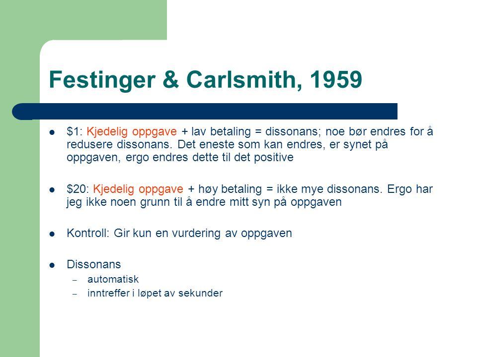 Festinger & Carlsmith, 1959