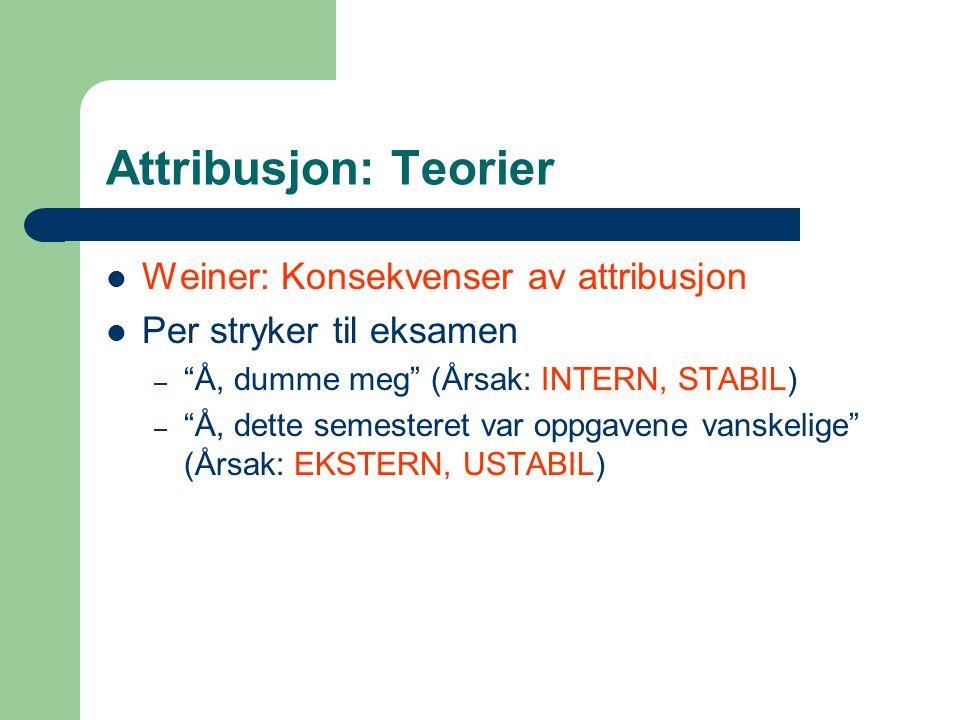 Attribusjon: Teorier Weiner: Konsekvenser av attribusjon