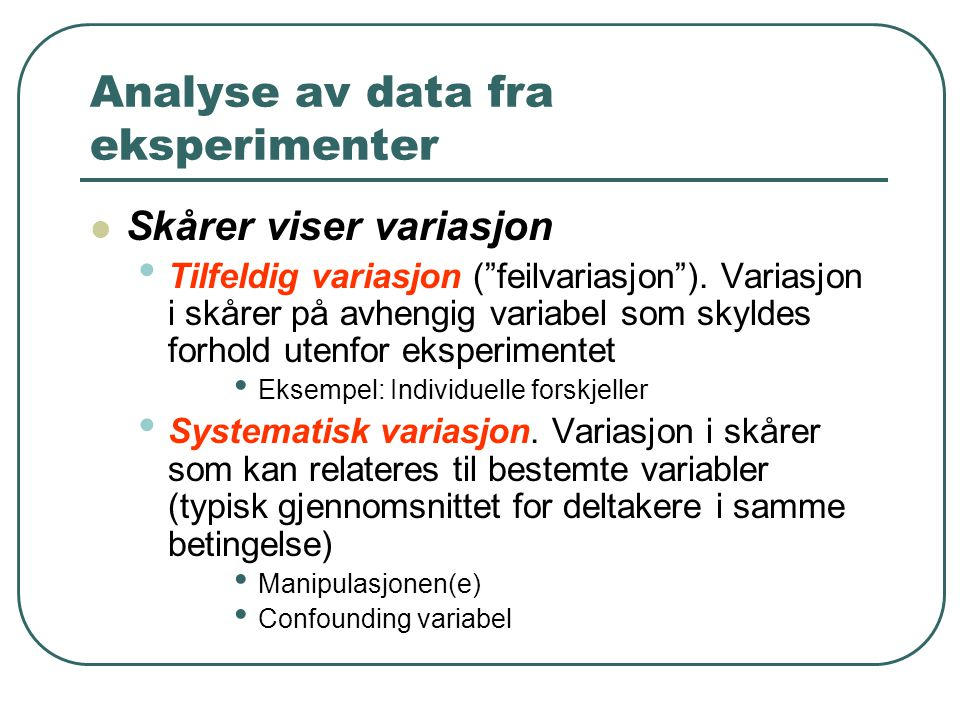 Analyse av data fra eksperimenter