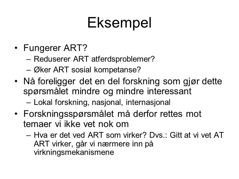 Eksempel Fungerer ART Reduserer ART atferdsproblemer Øker ART sosial kompetanse